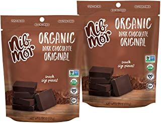 Nib Mor Organic Dark Chocolate Snacking Bites with 72% Cacao - Original Flavor, 3.55 Ounce (Pack of 2)