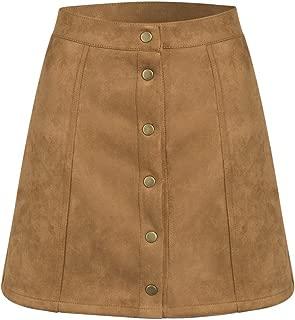 Women's High Waist Faux Suede Button Front Plain A-Line Mini Skirt