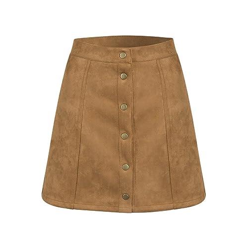 d707c9bb2 PERSUN Women's Faux Suedette Button Closure Plain A-Line Mini Skirt