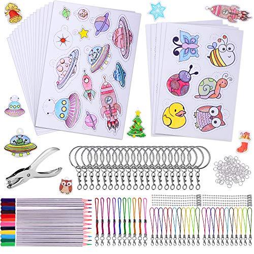 193 Pezzi Kit di Fogli di Plastica Shrink Plastica con A4 Fogli di Pellicola Termoretraibile, Portachiavi, Perforazione, Matite Colorate per amanti artigianali, adulti e bambini