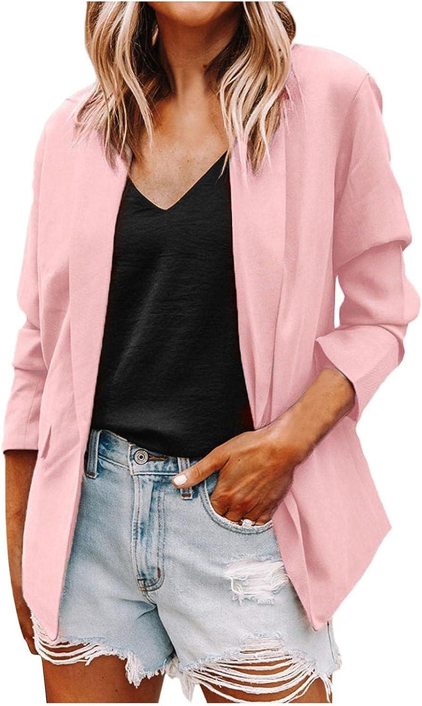 Blazers Coat for Women Solid Color Open Front Cardigan Work Office Suit 3/4 Sleeve Long Sleeve Jacket Formal Coat