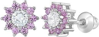 925 Sterling Silver Pink Clear CZ Screw Back Flower Earrings for Girls 6mm