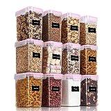 Vtopmart 1.6L Contenitori Alimentari per Cereali,Pasta, Senza BPA Contenitori Plastica con Coperchio,Set di 12 + 24 Etichette (Rosa)