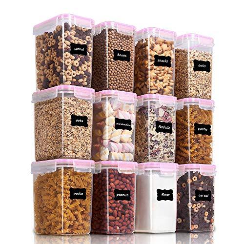 Vtopmart 1.6L Recipientes para Cereales Almacenamiento de Alimentos, Jarras de Almacenamiento de Plástico con Tapa Hermética Sin BPA,Juego de 12 + 24 Etiquetas, para harina,café (Rosado)