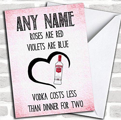 Rozen zijn rode wodka goedkoper grappige Valentines op maat wenskaart - Valentijnskaarten