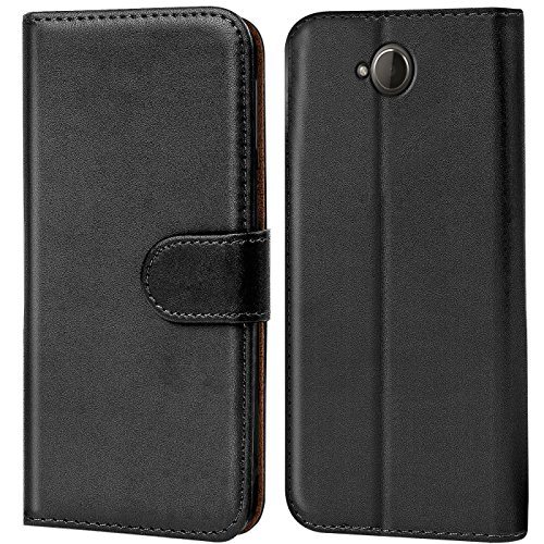 Verco Lumia 650 Hülle, Handyhülle für Microsoft Lumia 650 Tasche PU Leder Flip Hülle Brieftasche - Schwarz