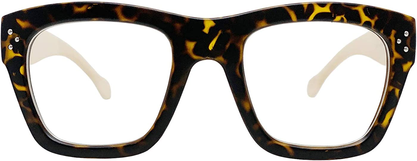Vintage Inspired Geek Oversized Square Thick Horn Rimmed Eyeglasses Clear Lens