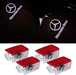 Car Door LED Logo Lights Projector Ghost Shadow Light Accessories for Mercedes Benz E A C ML AMG 4MATIC ML300 ML350 Blue TEC Class w212 w166 w176 Series(4 Pack)