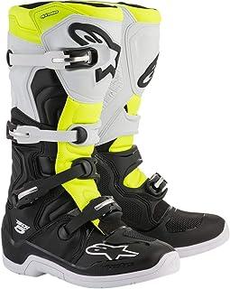 Botas MX Alpinestars Tech 5 Negro-Blanco-Fluorescent (EU 44.5 / US 10, Blanco)