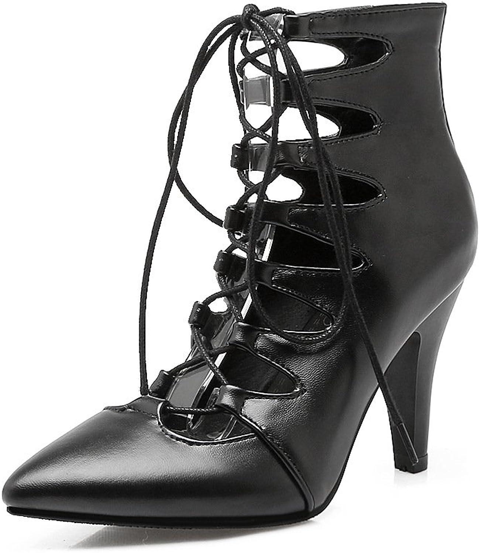 DYF Frauen Schuhe rot Mi hohe Geldstrafe Ferse hohlen Gurt zurück Zipper, Schwarz, 40
