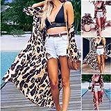 HINK-Home Cover Ups, Bikini con Protector Solar, Blusa Informal, Estampado de Leopardo, para Playa, Chaqueta de Punto de baño, para el día de Pascua
