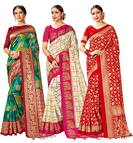 Mysore Art Sari für Damen, indischer Sari, mit ungenähter Bluse, 3 Stück Gr. One size, Kombi 7