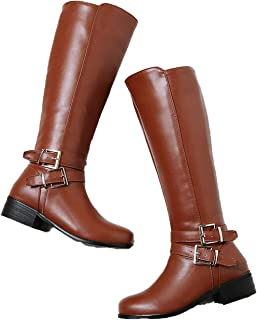 Large Size Women Knee high Boots Retro Women's Motorcycle Boots Thick Fur Warm Winter Snow Boots
