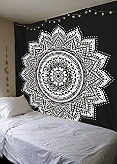 Black And White Indian Traditional Mandala Hippie Wall Hanging Cotton Tapestry Bohemian Bedspread (Floral Mandala Queen Size)
