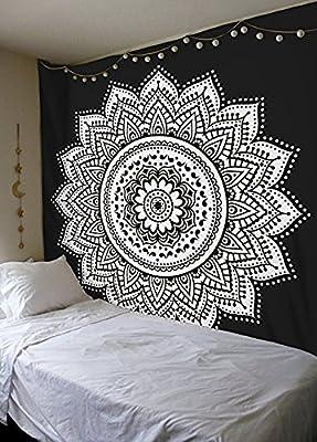 Tapiz de mandala tradicional indio, blanco y negro, de algodón, estilo bohemio, hippie, para colgar en la pared, colcha.: Amazon.es: Hogar