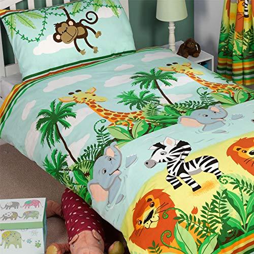 Rapport Dschungel-Tastic Einzelner Bettbezug und Kopfkissenbezug Set Bettbezug Größe ca.: 135cm x 200cm, Kissenbezug Größe ca.: 50cm x 75cm