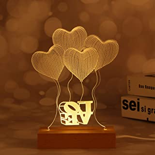Mobestech 3D Optical Illusion Love Heart Night Lights USB Power LED Table Lamp I Love You Gift for Wedding Anniversary Bir...