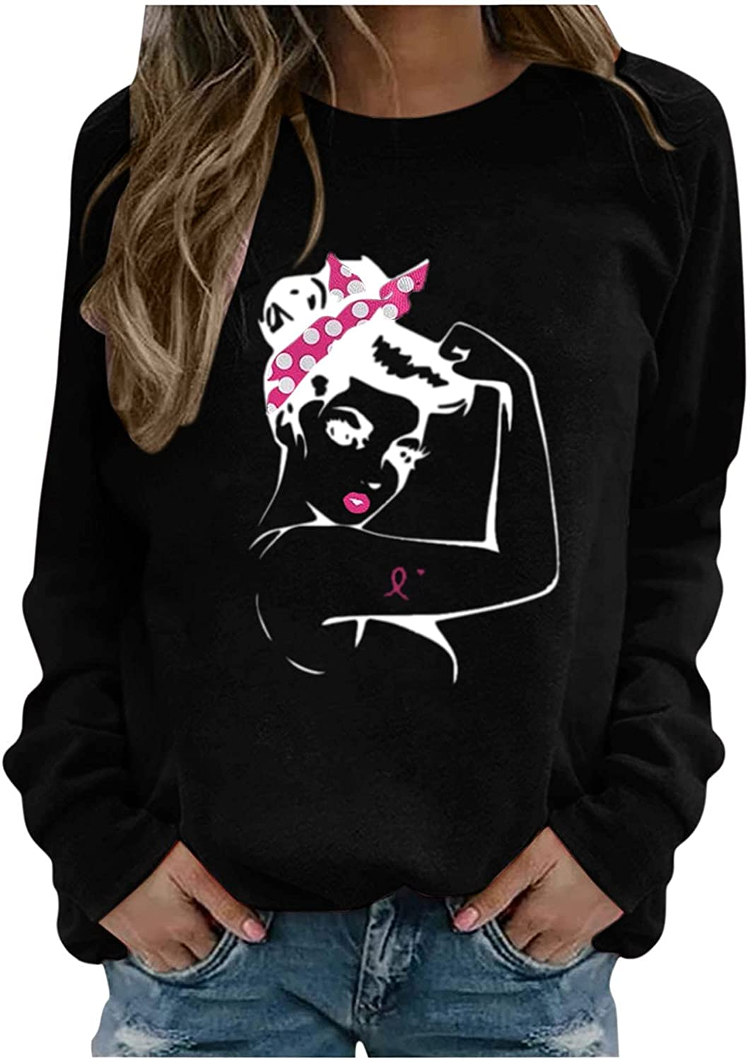 Sweatshirts For Women Ranking TOP18 Breast Cancer High material Print Neck Month Crew Blouse