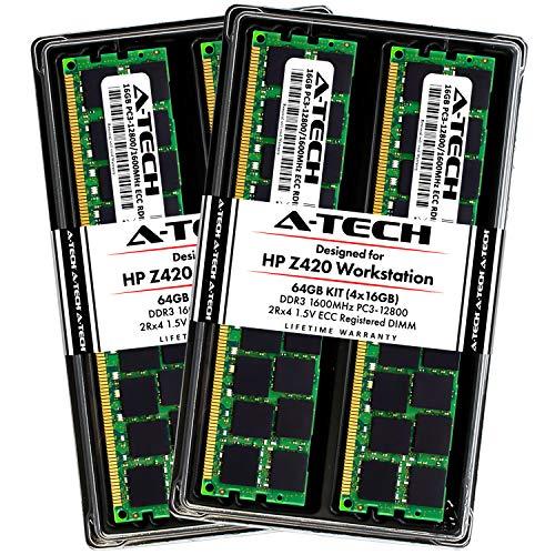A-Tech 64GB ECC Registered Memory Kit for HP Z420 Workstation (4 x 16GB) ECC RDIMM DDR3 PC3-12800 1600MHz 240-Pin DIMM 2Rx4 1.5V Dual Rank RAM Upgrade