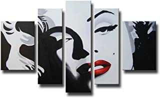 Artland Modern 100% Hand Painted Oil Painting on Canvas Sexy Marilyn Monroe 5-Piece Famous People Framed Wall Art Ready to Hang for Living Room Artwork for Wall Decor Home Decoration 26x48inches