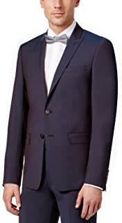 Extra Slim Fit Wine 100% Wool Peak Lapel 2 Piece Men's Suit Blue Wine 5FY0694 Retail $650