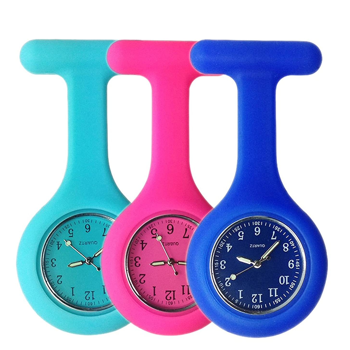 Set of 3 Nurse Watch Brooch, Silicone with Pin/Clip, Glow Pointer in Dark, Infection Control Design, Health Care Nurse Doctor Paramedic Medical Brooch Fob Watch - Blue Rose Navy