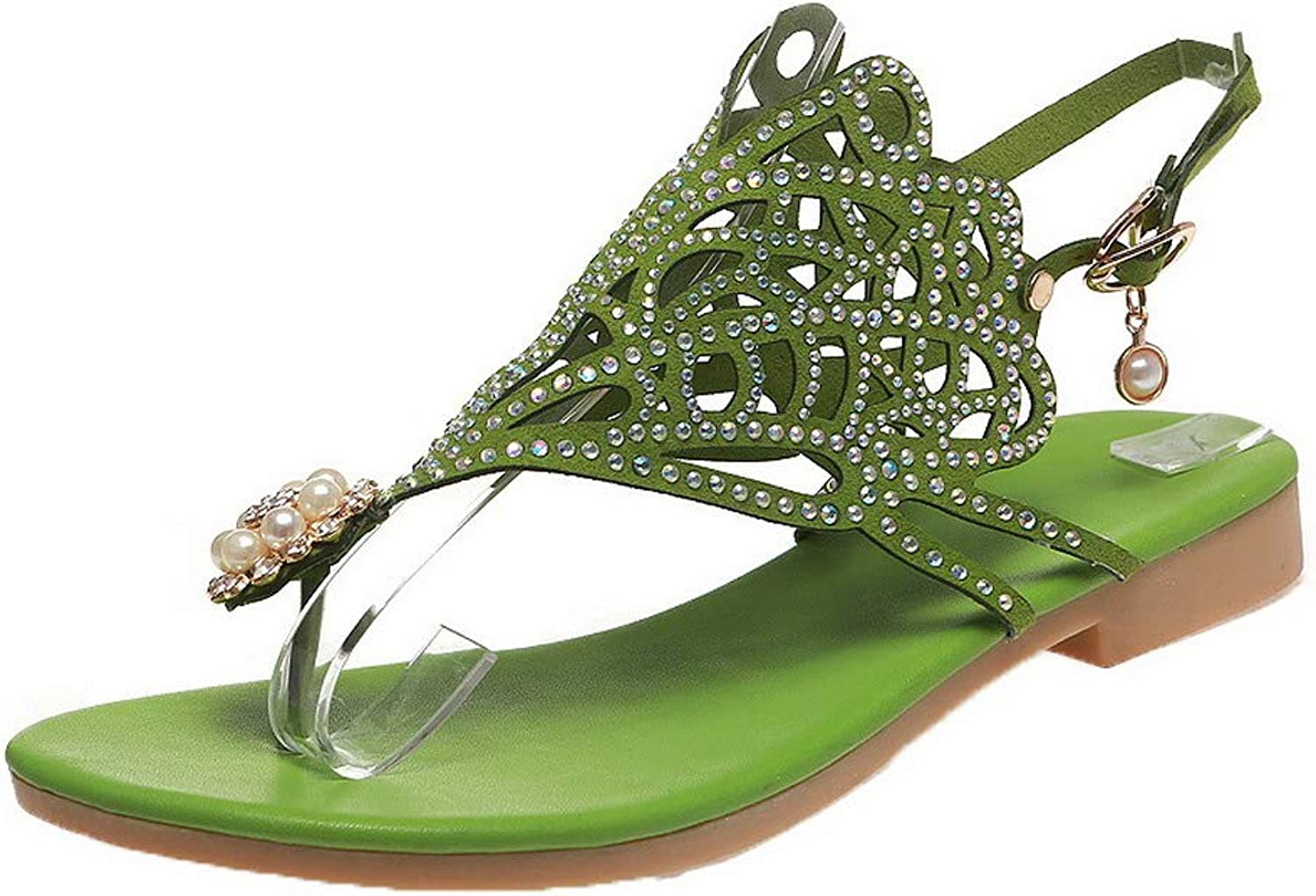 WeenFashion Women's Open-Toe Low-Heels Frosted Solid Buckle Sandals
