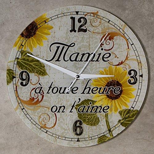 (HfMy) Horloge Je t'aime Mamie – Cadeau original pour Papi et Mamy – Fête des Grands mères, Anniversaire, Noël.)