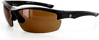 Aloha Eyewear Creekside Wrap-Around Polarized Bifocal Sport Safety Reading Sunglasses for Youthful, Active Men and Women (Black/Amber +2.50)