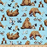 Elizabeth's Studio Adventures of Bear and Friends Toss Blue, Fabric by the Yard
