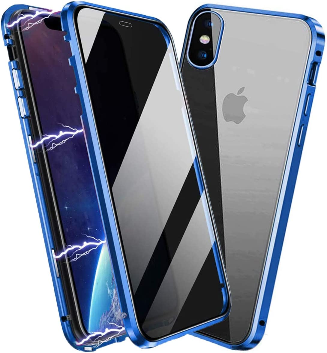 Privacy Magnetic Case for iPhone XR, Anti Peep Magnetic Adsorption Privacy Screen Protector Double Sided Tempered Glass Metal Bumper Frame Anti-Peeping Phone Case Anti-Spy Cover for iPhone XR