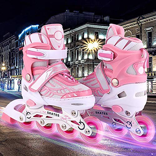 Aceshin Adjustable Inline Skates for Kids, Safe and Durable, Illuminating Roller Skates for Boys and Girls (Pink & White, US-S-12J-2)