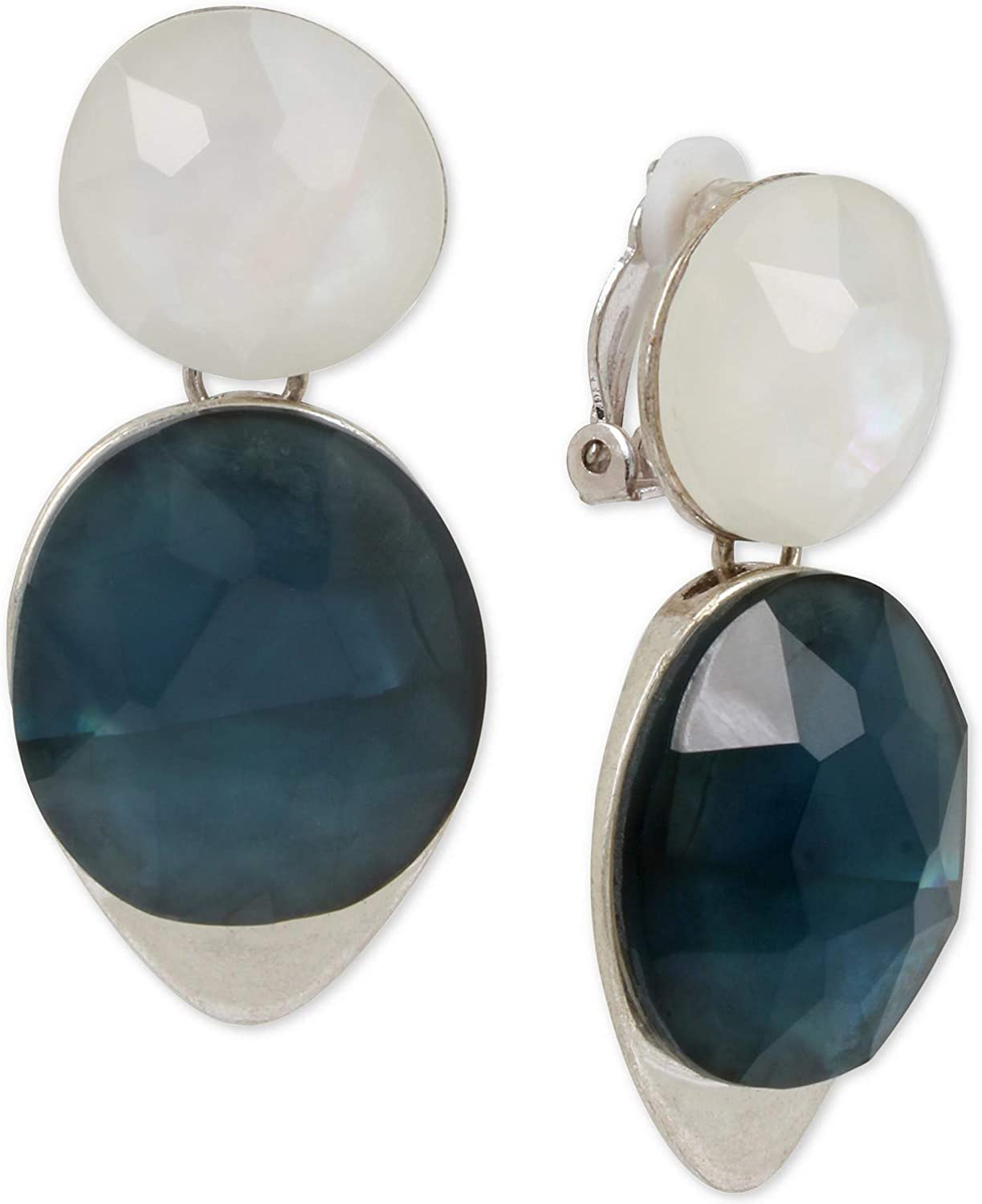 Robert Chicago Mall Lee Morris Soho Silver-Tone Drop Ear Clip-On Stone 2021 spring and summer new Double