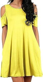 Keaac 女性カジュアルコールドショルダー半袖ソリッドカラーポケットシフトミニドレス