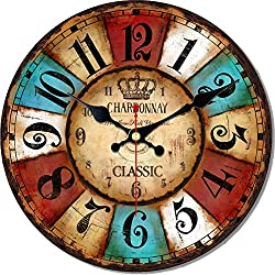 MEISTAR Wooden Big 16 Inch Antique Vintage Colorful Wall Clock, Quartz Silent Quiet Wall Clocks Decorate School, Restaurant and Coffee Bar