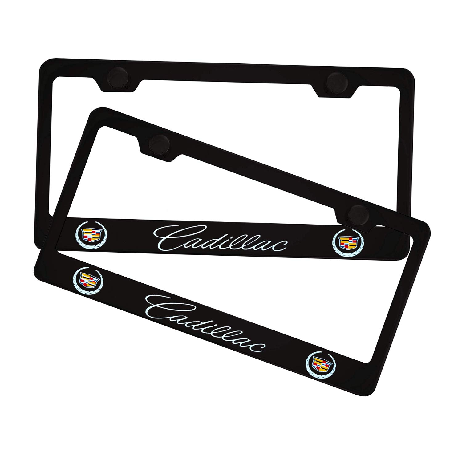 Black Sparkle-um 2Pcs Newest Matte Aluminum Alloy Cadillac Logo License Plate Frame,with Screw Caps Cover Set,Applicable to US Standard car License Frame for Cadillac.