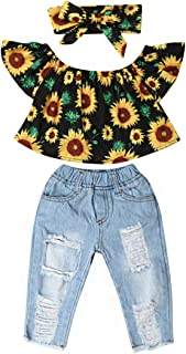 3Pcs Toddler Girl Sunflower Off Sloulder Top Ruffle Blouse + Blue Ripped Long Jeans + Yellow Bowknot Headband Sets