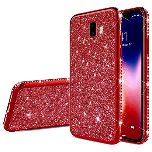 MoreChioce compatible avec Coque Samsung Galaxy J6 Plus 2018 Strass Paillette Coque pour Galaxy J6 Plus 2018 Housse de Protection Ultra Mince Souple Gel TPU Silicone Étui Antichoc Bumper,Rouge