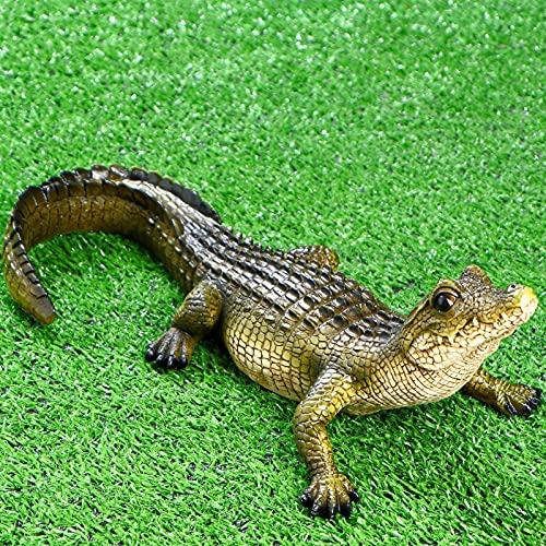 The Swamp Beast Lawn Alligator Crocodile Caiman Garden Sculpture 13 Inch Polyresin Full Color - Garden Sculptures Lawn Statues