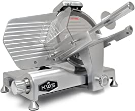 KWS Metal Collection Commercial 320W 10 Inches Meat Slicer MS-10DS Anodized Aluminum Base with Stainless Steel Blade + Blade Removal Tool, Frozen Meat/ Cheese/ Food Slicer Low Noises Commercial and Home Use
