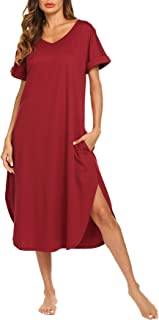 Image of AVIIER Stylish Women's Long Nightgown with Pockets - See More Colors