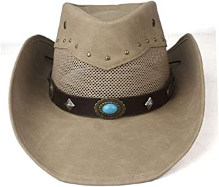 Hats  and Caps Leather Western Cowboy Hat for Men Women Mesh Wide Brim Hat Outdoor Sombrero Hombre Cowgirl Hat Ghost (Color : Khaki, Size : 58-59cm)