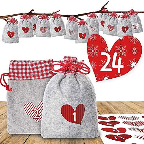 Maliyaw Weihnachten Adventskalender Taschen und Digitale Aufkleber, Advent Taschen mit Kordelzug, DIY Adventskalender kleine Taschen (24 PCS-14 Aufkleber)