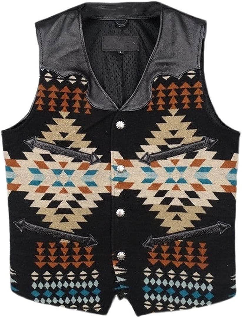 Men Plus Size Slim Today's only Fit Patchwork Leather Printe Vest Excellent Vintage