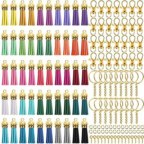 Yousiju Juego de 350 llaveros con 50 tapas doradas para hacer llaveros y joyas, 50 ganchos para llavero (color : A, tamaño: talla única)