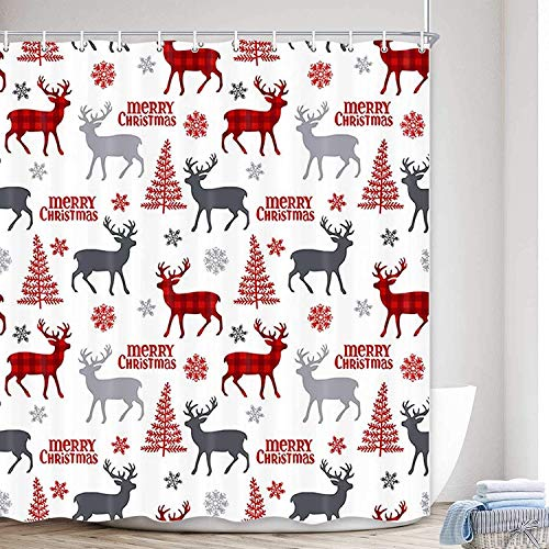 Merry Christmas Elch Stoff Duschvorhang, Rot & Schwarz Büffel Karo Rentier mit Weihnachtsbaum in Schneeflocke Polyestergewebe Wasserdicht Badvorhang, Neujahr Badezimmer mit Haken, 69x70 Rot Grau