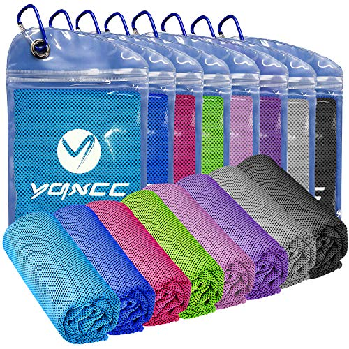 YQXCC 8 Pack Cooling Towel (47'x12') Ice Towel for Neck, Microfiber Cool Towel, Soft Breathable Chilly Towel for Yoga, Golf, Gym, Camping, Running, Workout & More Activities