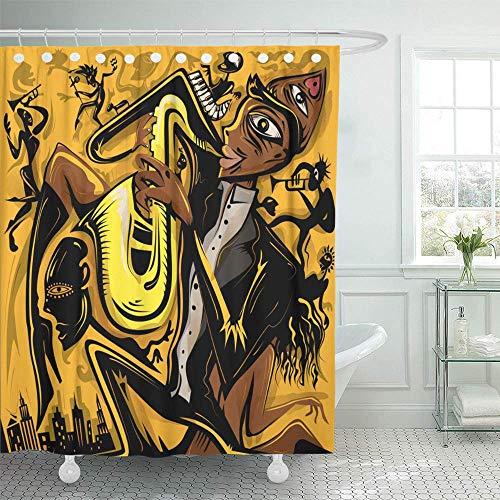 N\A Cortina de Ducha Decorativa Amarillo Africano Abstracto Jazz Saxofonista de The City Music American Funk Catálogo Cortinas de baño Resistentes al Moho Resistentes al Agua Set con Ganchos