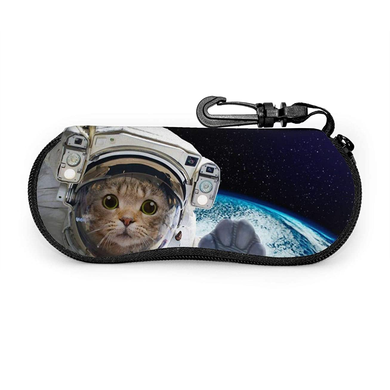 実質的安らぎ名誉ある宇宙 猫 メガネケース メガネポーチ 擦り傷防止 ファスナー式 フック付き サングラスケース かわいい 眼鏡入れ 筆箱 眼鏡ケース めがねケース 化粧バッグ おしゃれ
