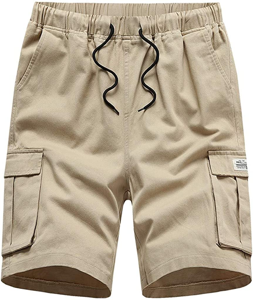 Gergeos Men's Plus Size Fashion Multi-Pocket Cargo Shorts Elastic Waist Summer Outdoors Casual Shorts